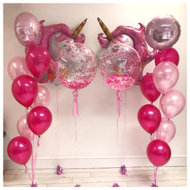 Pink Bouquets, Bubble Balloons & Unicorn