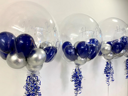 Navy & Silver Bubble Balloon