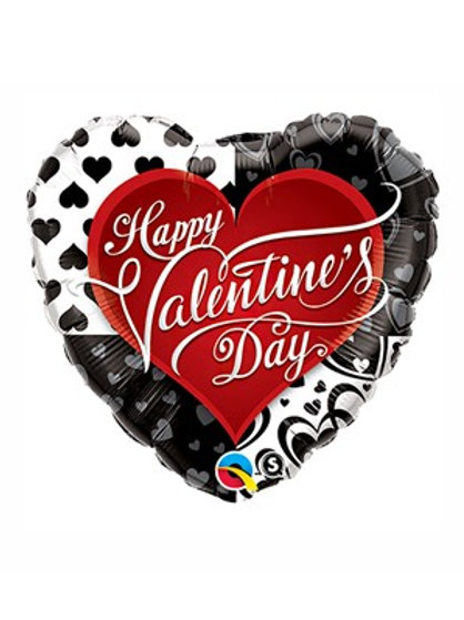 "Valentine's Black & Red Hearts 18"" Foil Balloon"