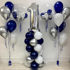 Structured Balloon Column Silver Number 1