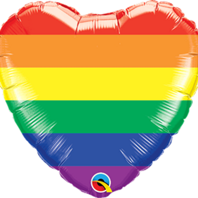 "Rainbow Stripes 18"" Heart Foil Balloon"