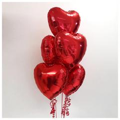 Red Heart 5 Foil Balloon Bouquet