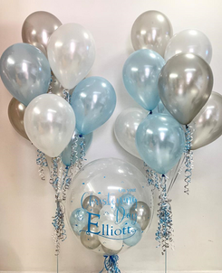 'On Your Christening Day Elliott' Soft Blue Bubble Balloon