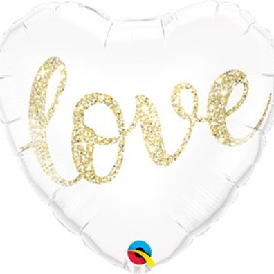 "Gold Glitter Love 18"" Heart Foil Balloon"