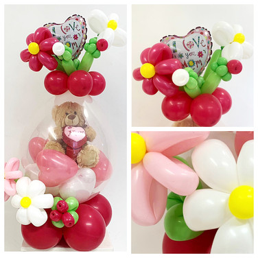 Stuffed Balloon with Flower Models and Mini Balloon Topper