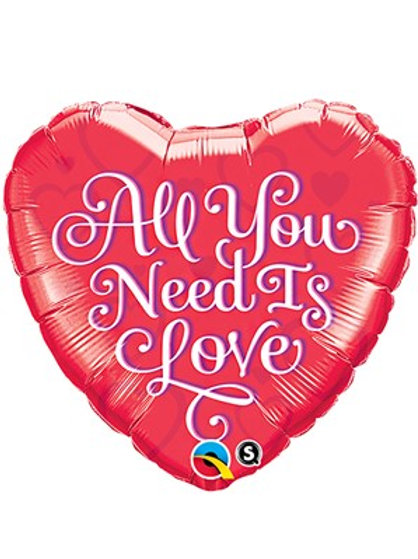 "Valentine's Day All You Need is Love 18"" Heart Foil Balloon"