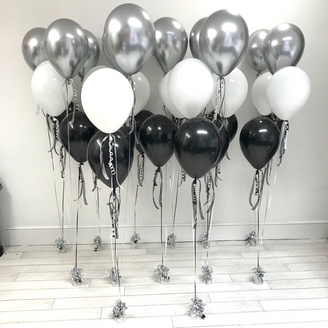 3 Latex Balloon Bouquet - Silver, Black & White