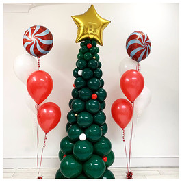 6ft Christmas Tree with Candy Swirl Bouquets