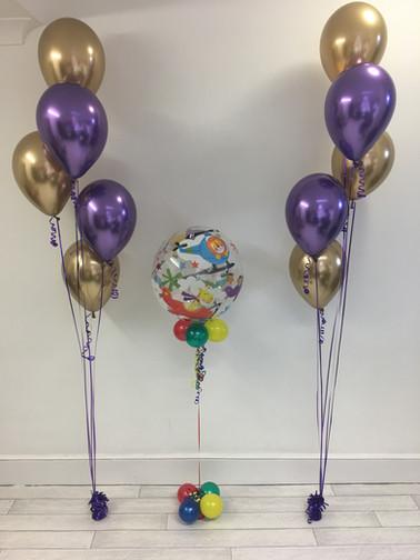 Chrome Gold & Purple Balloons