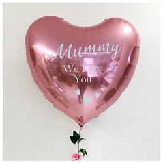 Giant heart foil with vinyl print and a flower garland tail