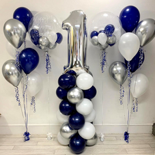 1st Birthday Navy Bubble Balloon