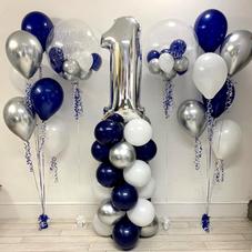 1st Birthday Navy Bubble Balloon