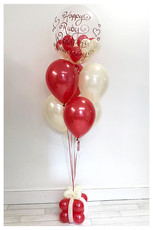 Red & Ivory Bouquet with Bubble Balloon and Present Weight