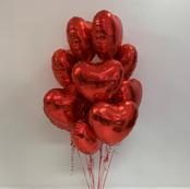 One Dozen Red Heart Bouquet