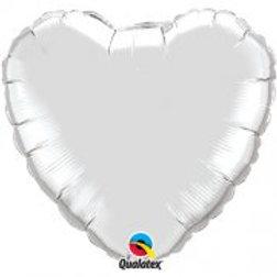 "Silver 18"" Foil Heart Balloon"