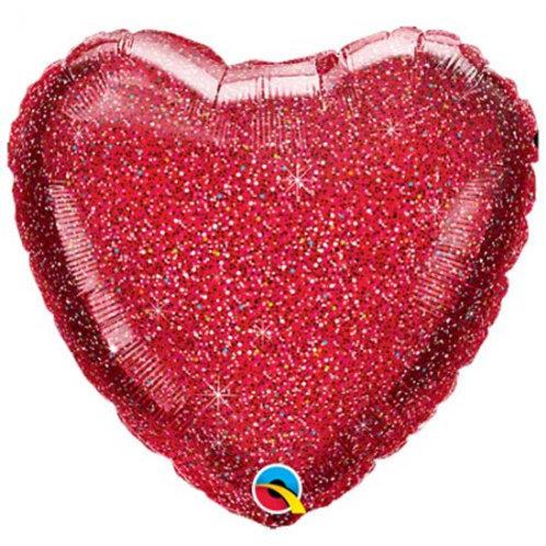 "Glittergraphic Red 18"" Foil Balloon"