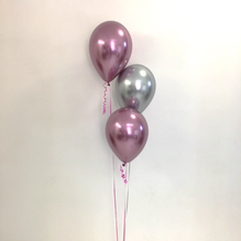3 Latex Bouquet - Chrome Mauve & Silver