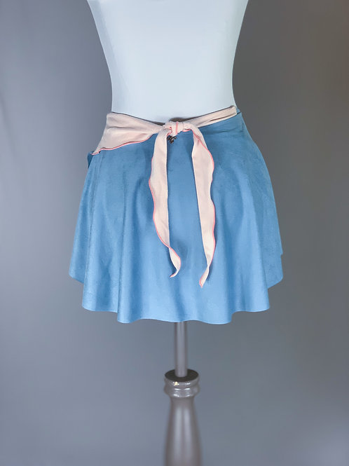 Blue Butter Suede with Ballet Pink Tie