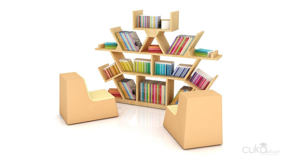 Mini Biblioteca Infantil com Bancos de Espuma