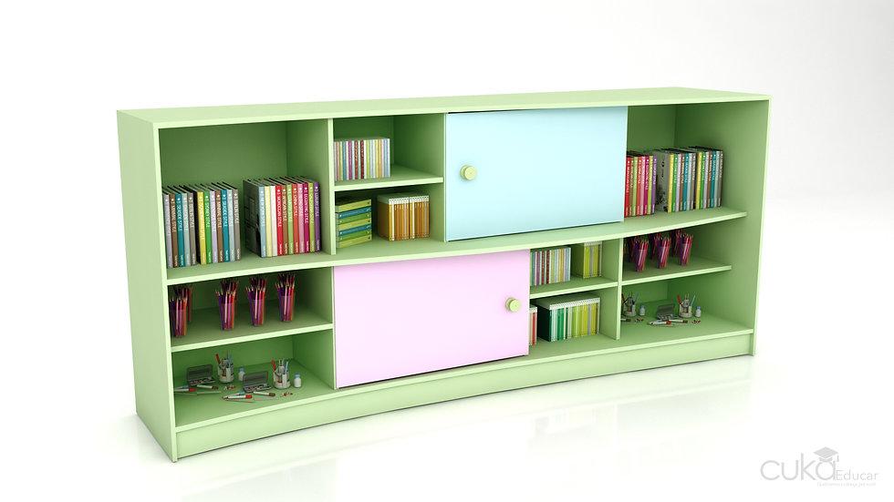 Mini Estante/Biblioteca Infantil com Portas