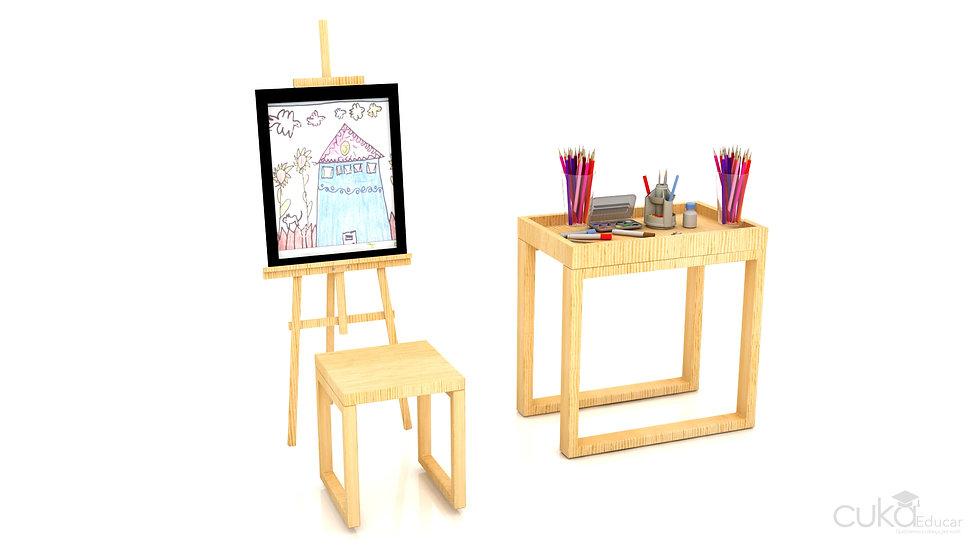 Cavalete de Pintura com Banco e Mesa