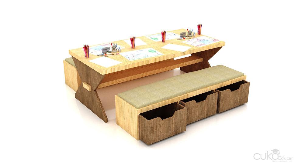 Mesa Infantil para Atividades com Gaveteiros