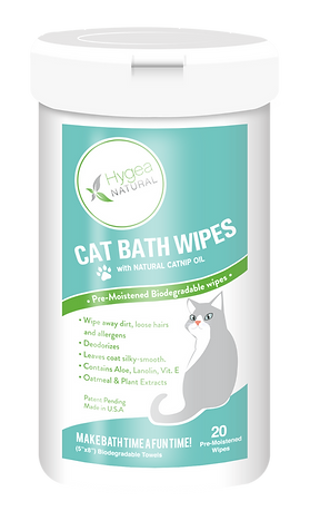 Hygea Cat Cleaning Wipes - Premium Bathing & Grooming Cloth - Infused With Catnip Oil - Natural Ingredients & Biodegradable - Hypoallergenic - 20 Count