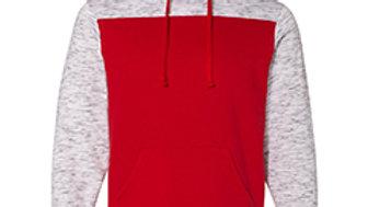 J America Adult Melange Color Blocked Hooded Sweatshirt JA8676