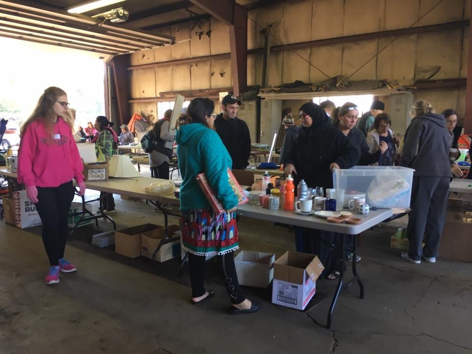 Members of the Summit community browse donated items at one of the Summit Free Market events