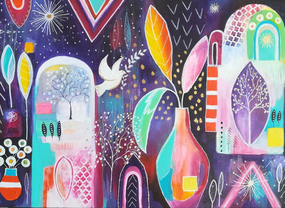 Journey to Peace Acrylic on Canvas 70c50cm