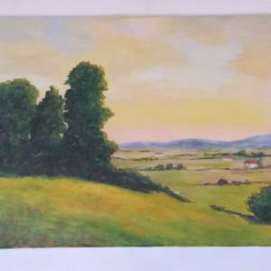 Dusk Landscape Acrylic on Canvas 46x38 cm