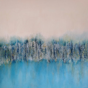 Trees Acroos the Water- Acrylic & Mixed Media on Board 60x60cm