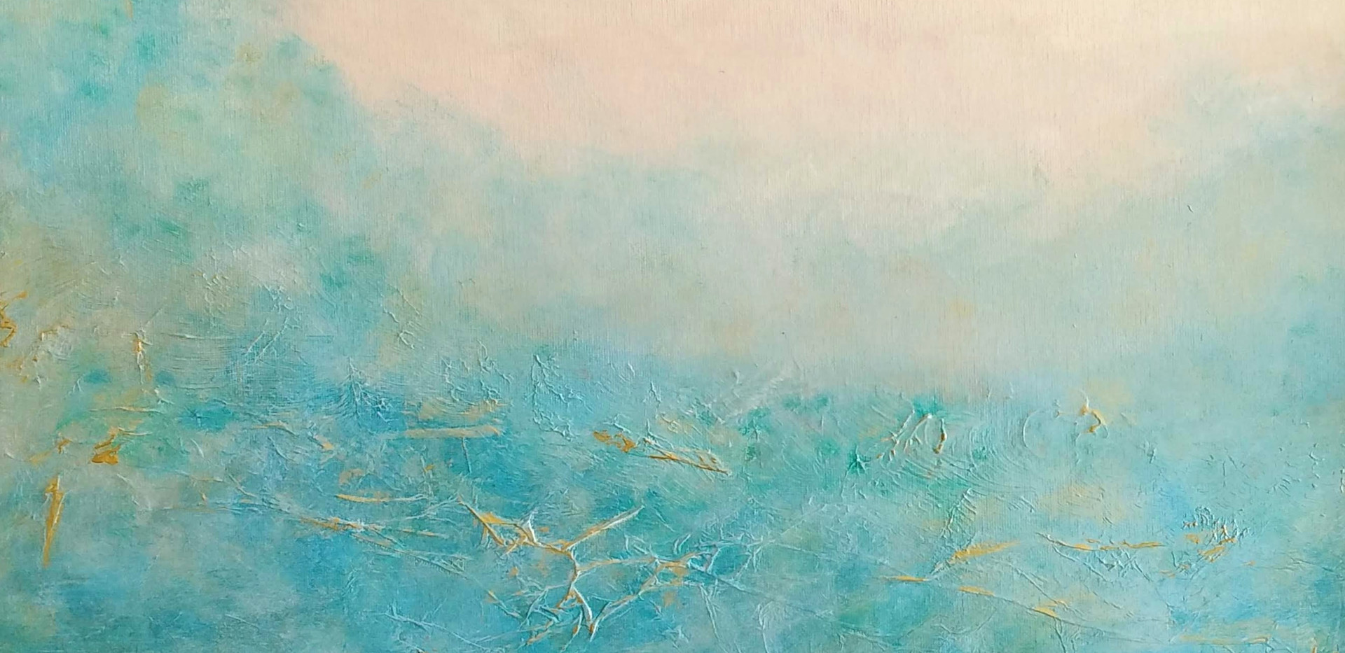 Blue Gold Abstract Landscape Acrylic on Board 50x60cm SOLD