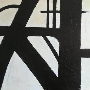 Abstract Painting - Life in Black and White - Acrylic & Mixed Media on Canvas  100x120cm