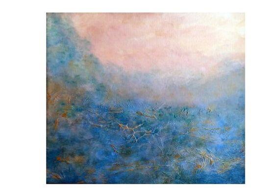 Blue Gold Landscape 52x62 SOLD