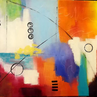 Abstract Painting -Let's Talk - Acrylic on Canvas 46x55cm