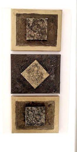 3 Gold Squares Can be Customed made 2 or 3 Squares