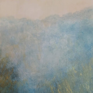 Gold and Blue Landscape - Acrylic on Canvas 25x30cm