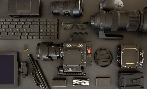 flat-lay-of-filming-equipment-with-keybo