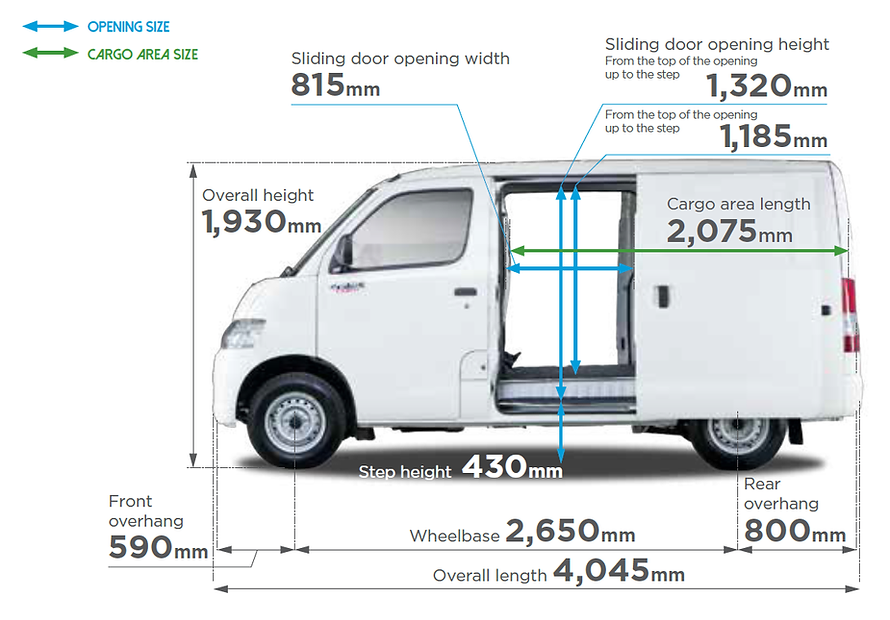 Daihatsu Van Measurement (Length, Width & Height)