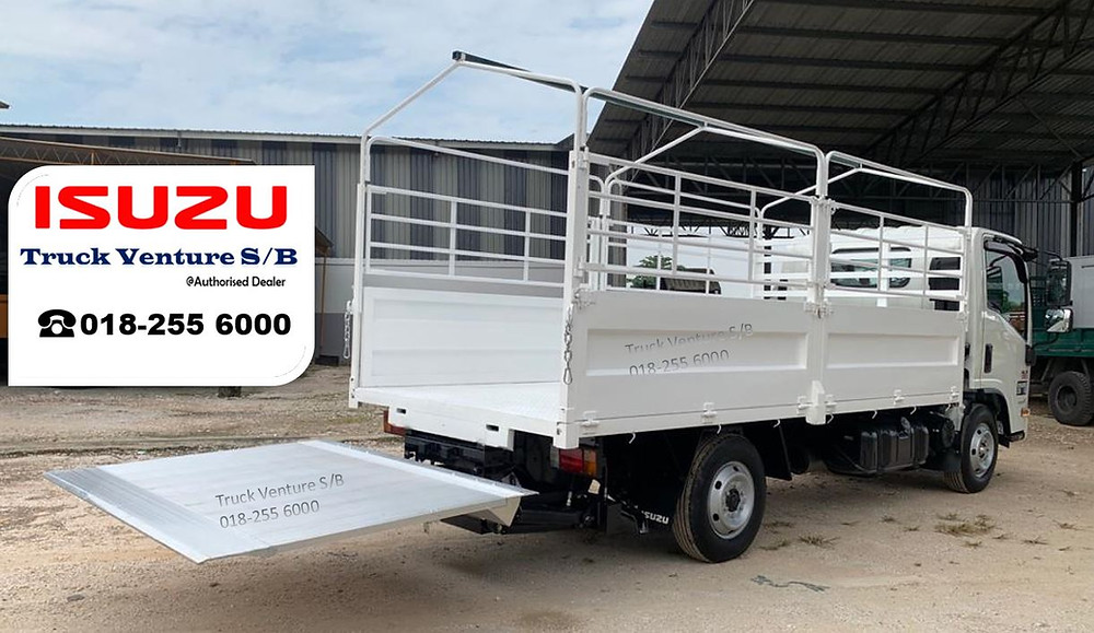 New White Lorry Isuzu Steel Cargo with Tail Lift open flat at the back