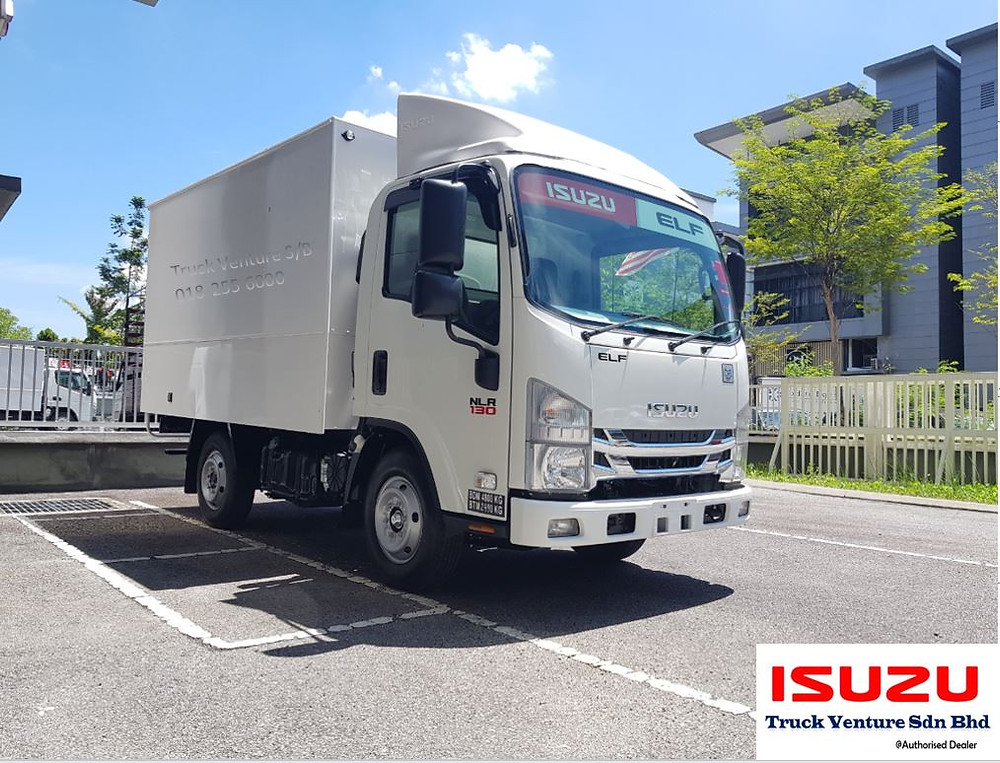 New Lorry (Isuzu Brand) white color parked at the showroom
