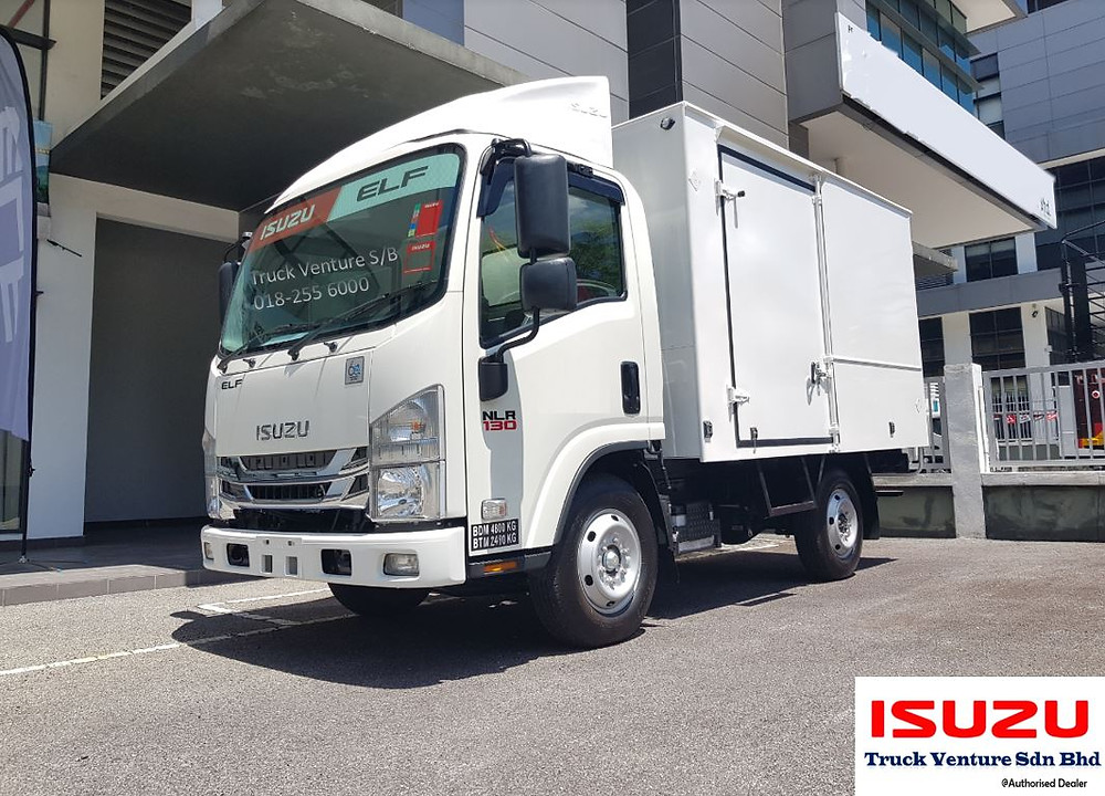 10 feet new lorry at display at the parking bay of Isuzu Dealer