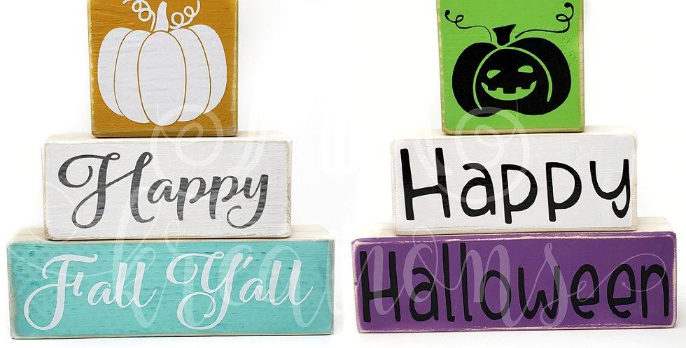 Happy Fall Y'all + Happy Halloween Wood Blocks
