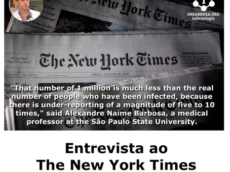 Brazil Passes 1 Million Coronavirus Cases With No End in Sight - Entrevista ao The New York Times