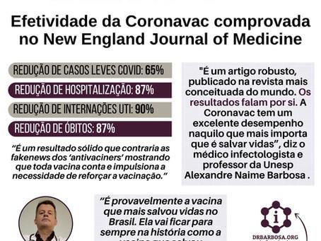 Efetividade da Coronavac comprovada no New England Journal of Medicine