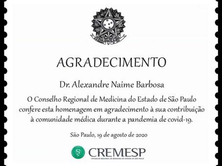 Homenagem do CREMESP à Atuação na Pandemia COVID