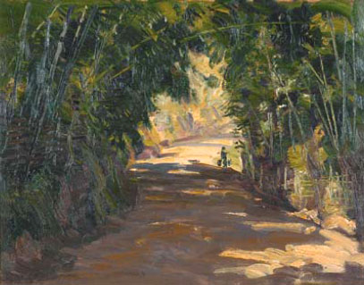 Country Road under Leafy Bamboos