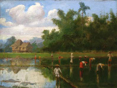 Figures Working in the Ricefields