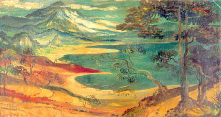 Coastal Landscape with Mountain at the Background